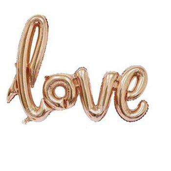 YEDUO  Ligatures LOVE Letter Foil Balloon Anniversary Wedding Valentines Party Decoration Champagne Cup Photo Booth Prop - ROSE GOLD