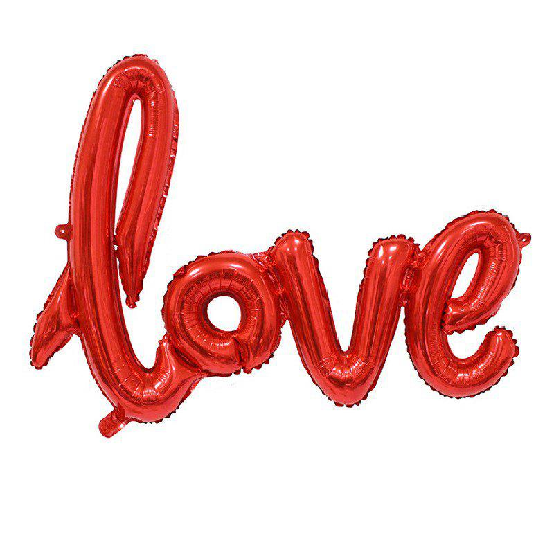 YEDUO  Ligatures LOVE Letter Foil Balloon Anniversary Wedding Valentines Party Decoration Champagne Cup Photo Booth Prop - RED
