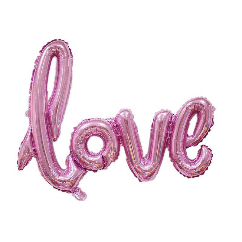 YEDUO  Ligatures LOVE Letter Foil Balloon Anniversary Wedding Valentines Party Decoration Champagne Cup Photo Booth Prop - PINK