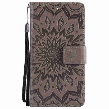 Embossed Sun Flower PU TPU Phone Case for Nokia 9 - GRAY