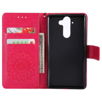 Embossed Sun Flower PU TPU Phone Case for Nokia 9 - RED