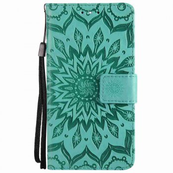 Embossed Sun Flower PU TPU Phone Case for Nokia 9 - GREEN