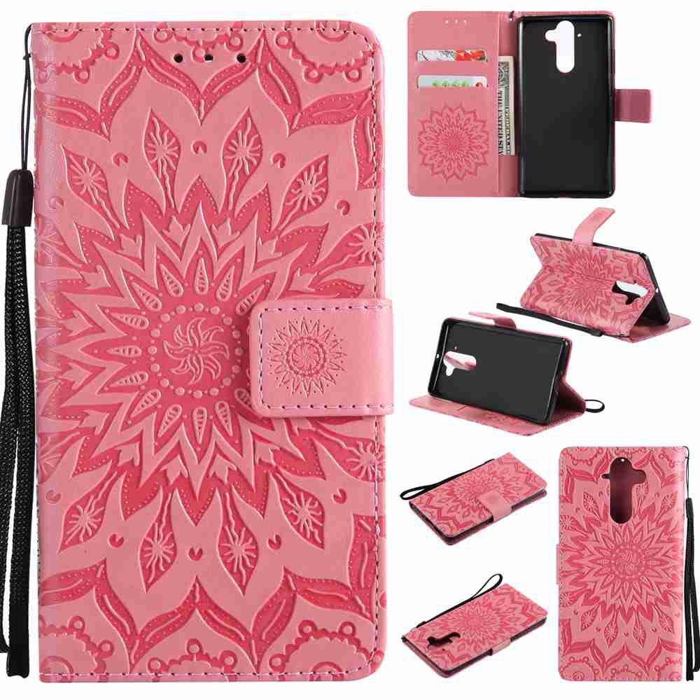 Embossed Sun Flower PU TPU Phone Case for Nokia 9 - PINK