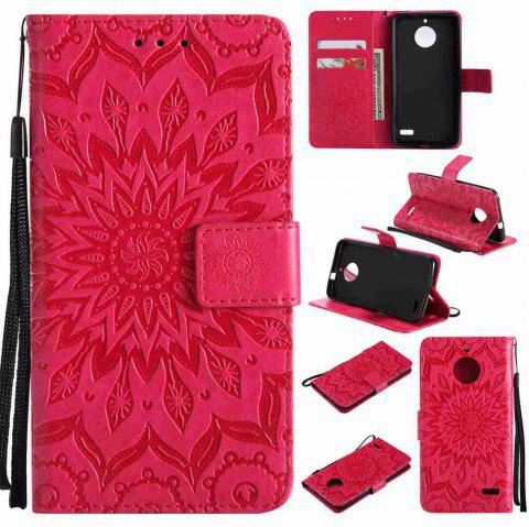 Embossed Sun Flower PU TPU Phone Case for Moto E4 - RED