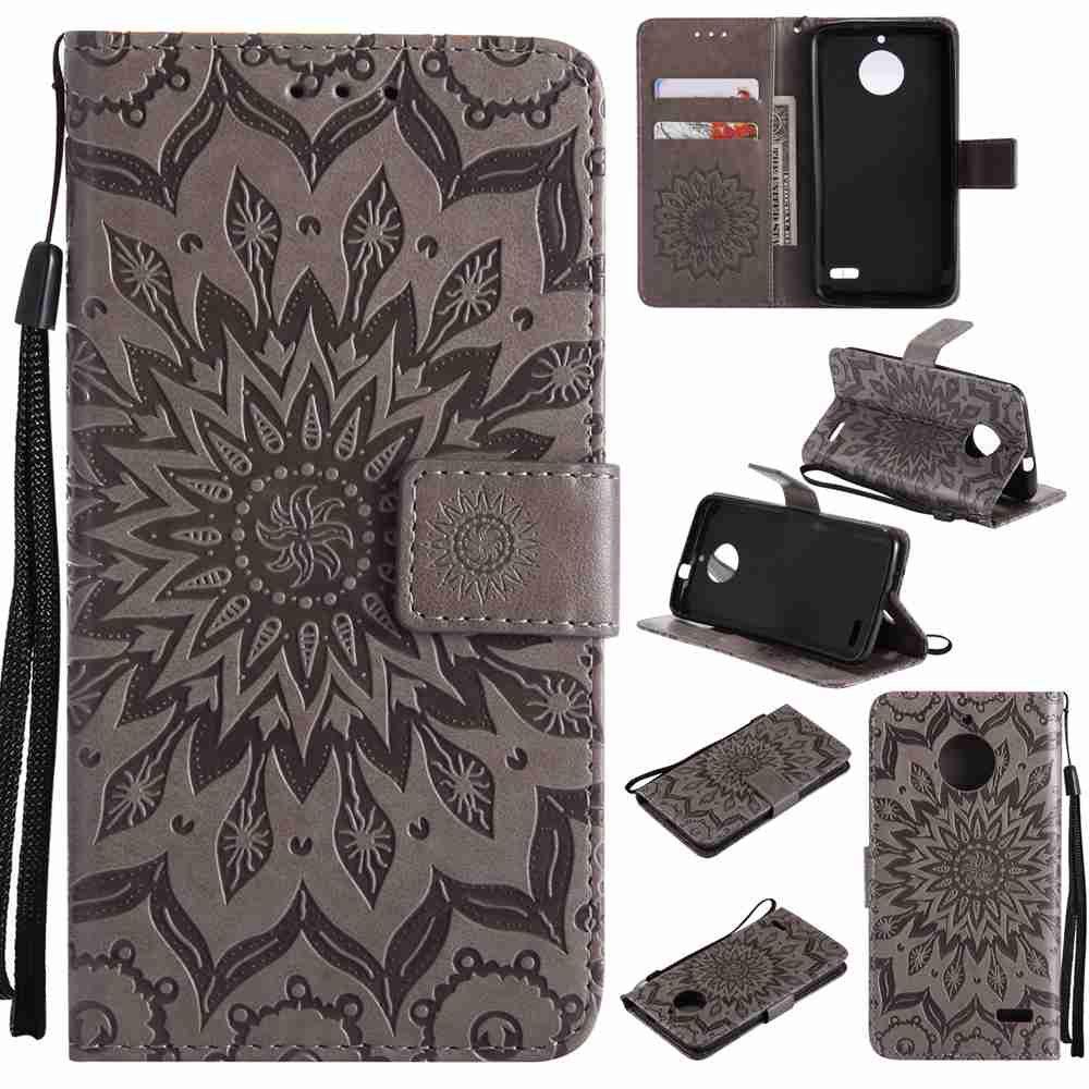 Embossed Sun Flower PU TPU Phone Case for Moto E4 - GRAY