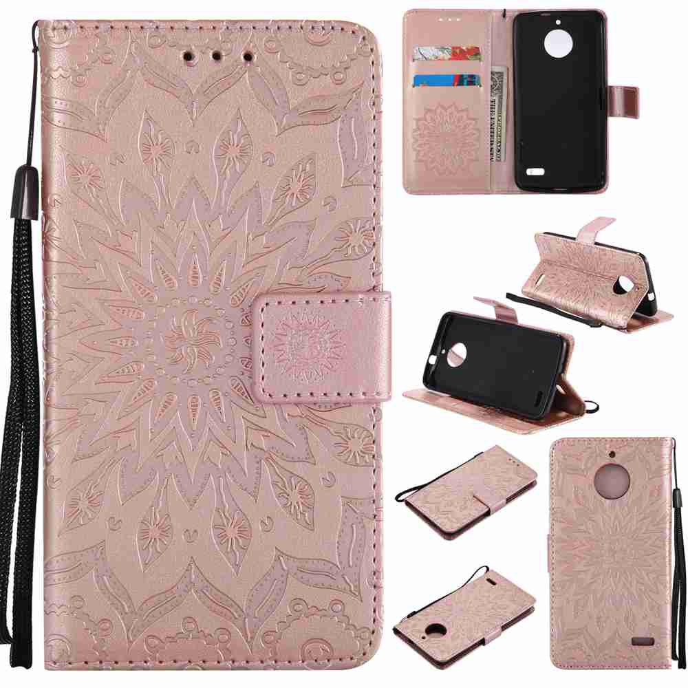 Embossed Sun Flower PU TPU Phone Case for Moto E4 - ROSE GOLD
