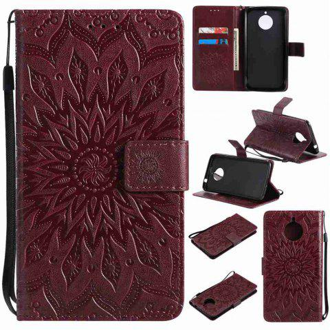 Embossed Sun Flower PU TPU Phone Case for Moto E4 Plus - BROWN