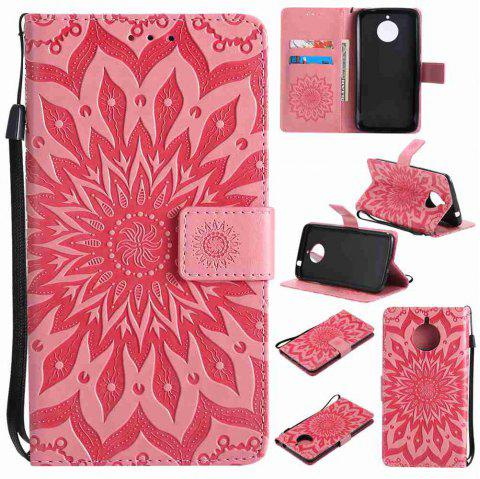 Embossed Sun Flower PU TPU Phone Case for Moto E4 Plus - PINK