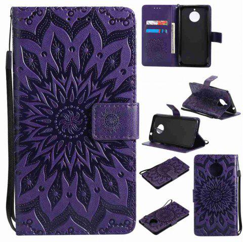 Embossed Sun Flower PU TPU Phone Case for Moto E4 Plus - PURPLE