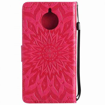 Embossed Sun Flower PU TPU Phone Case for Moto E4 Plus - RED