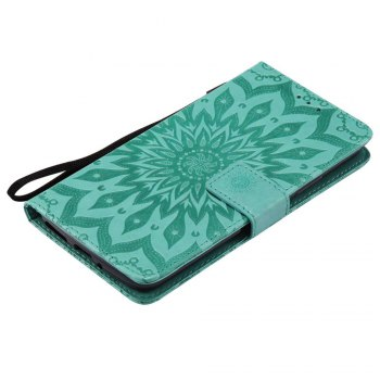 Embossed Sun Flower PU TPU Phone Case for Moto E4 Plus - GREEN