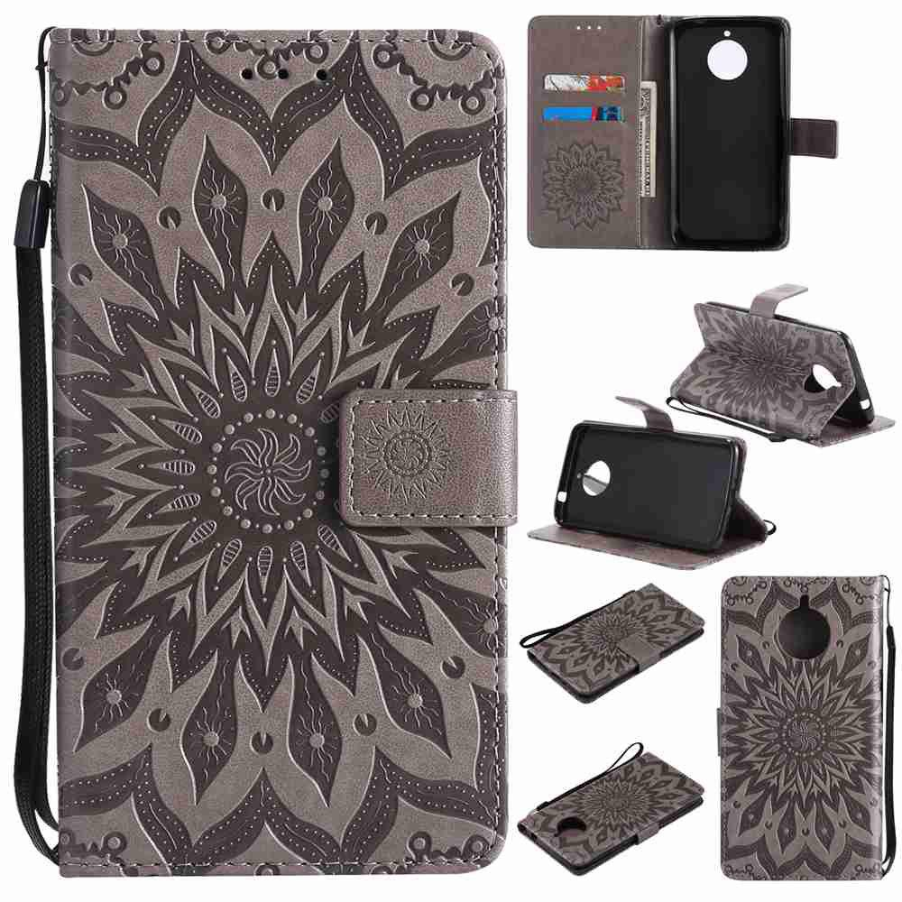 Embossed Sun Flower PU TPU Phone Case for Moto E4 Plus - GRAY