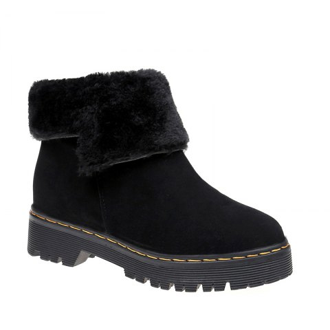 ZSN812-1 Winter Cashmere Warmth Simple Comfort Wearproof and Antiskid Shoe Sole Pure Color Round Snow Boots - BLACK 35