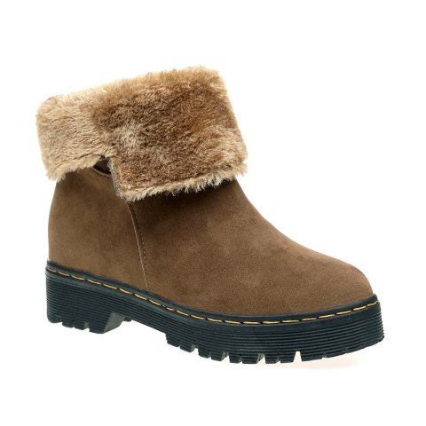 ZSN812-1 Winter Cashmere Warmth Simple Comfort Wearproof and Antiskid Shoe Sole Pure Color Round Snow Boots - LIGHT BROWN 40