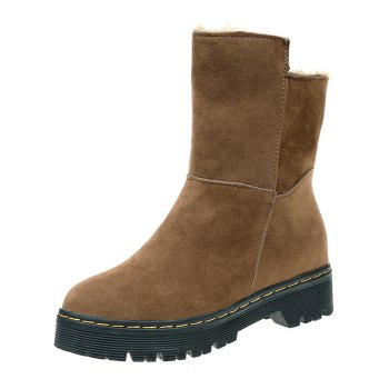 ZSN812-1 Winter Cashmere Warmth Simple Comfort Wearproof and Antiskid Shoe Sole Pure Color Round Snow Boots - LIGHT BROWN LIGHT BROWN