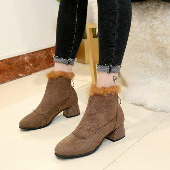 Winter Cotton Fashion Comfort Sole Pure Color Zipper Round Head Female Shoes - KHAKI KHAKI