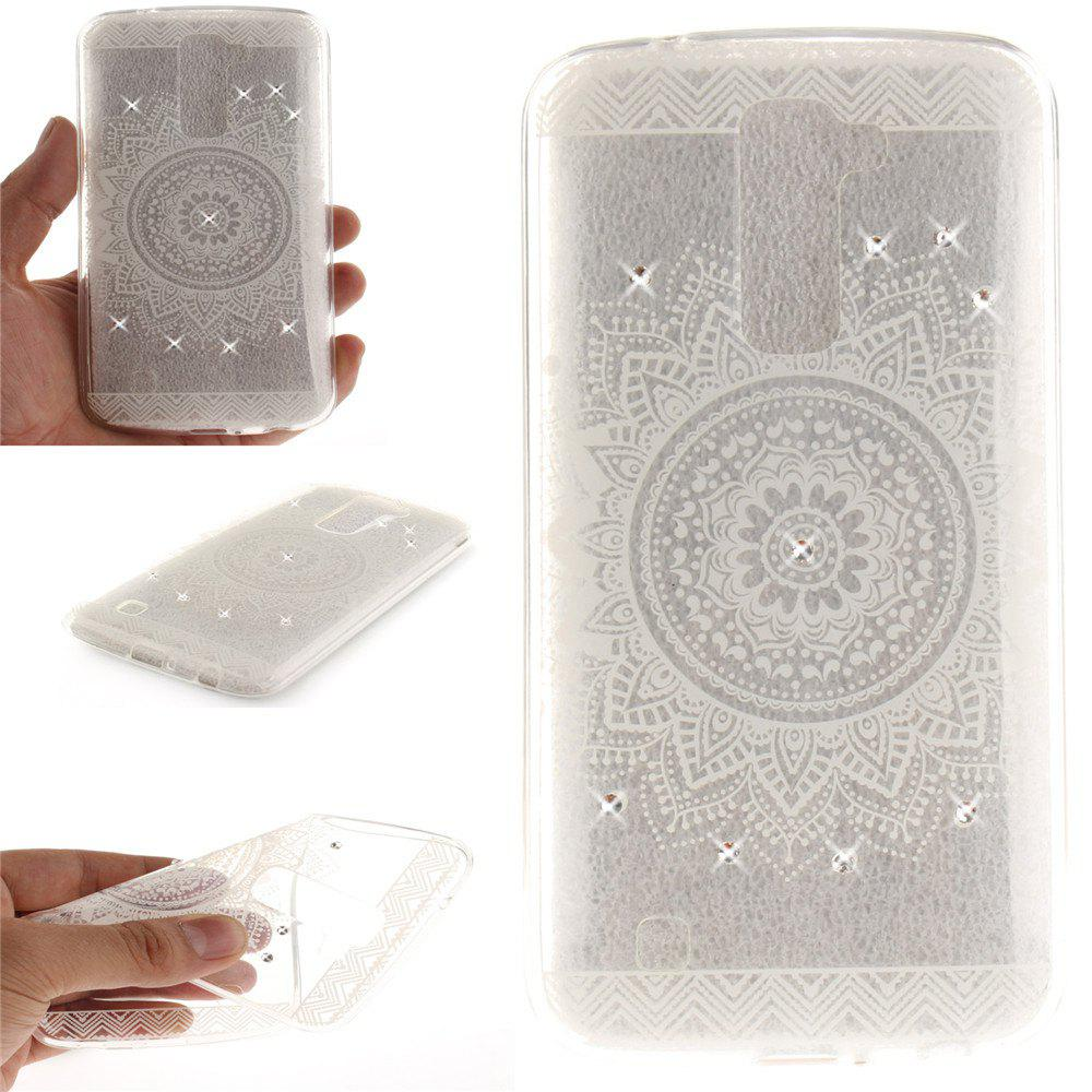 The White Mandala Diamond Soft Clear IMD TPU Phone Casing Mobile Smartphone Cover Shell Case for LG K10 - WHITE
