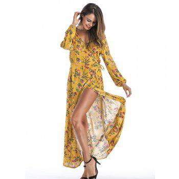V-Neck Long Sleeve Printed Bohemian Dress - YELLOW L