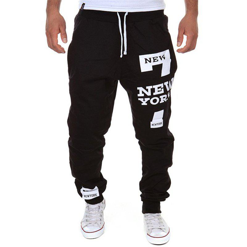 Men's Fashion Trousers Drawstring Design Print Casual Sports Pants 245225201