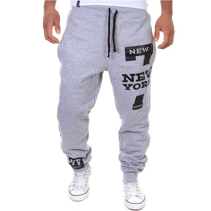 Men's Fashion Trousers Drawstring Design Print Casual Sports Pants 245225215