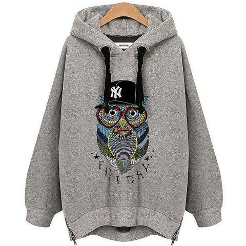 Owl Cashmere Fashion Warm Hoodie - GRAY 5XL