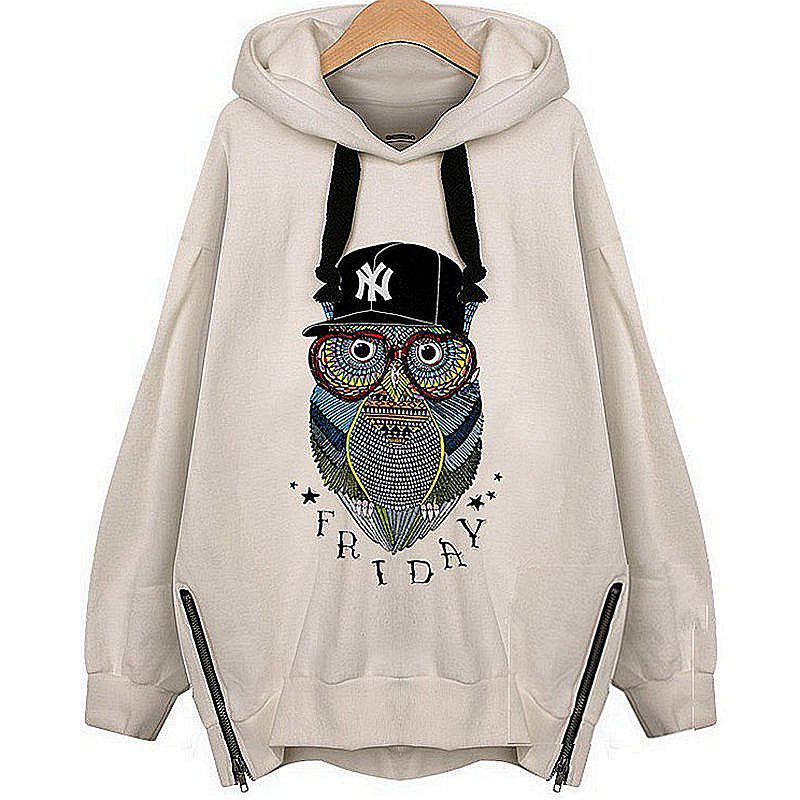 Owl Cashmere Fashion Warm Hoodie - WHITE 3XL