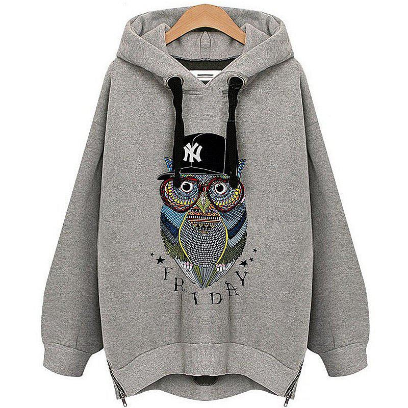 Owl Cashmere Fashion Warm Hoodie - GRAY 2XL