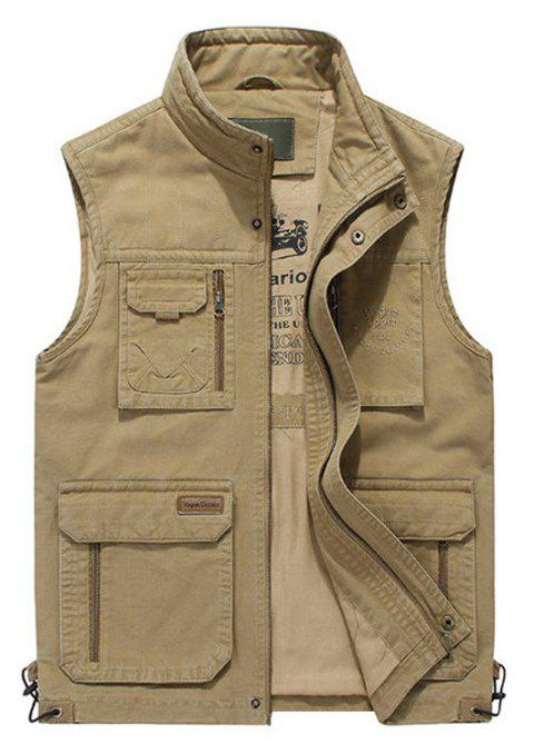 ff1e20bac06 Plus Size Casual Outdoor Cotton Multi Functions Loose Vests for Men - KHAKI  XL