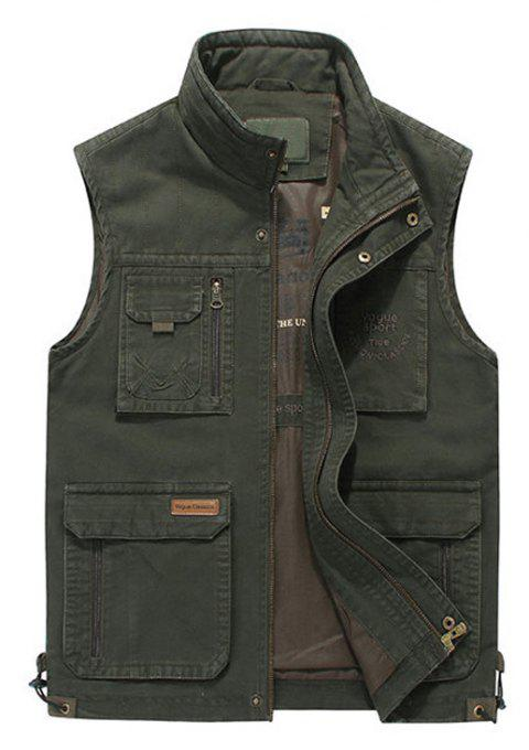 Plus Size Casual Outdoor Cotton Multi Functions Loose Vests for Men - ARMYGREEN M