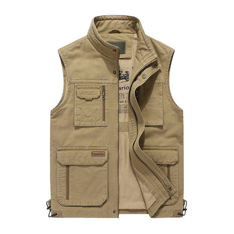 Plus Size Casual Outdoor Cotton Multi Functions Loose Vests for Men - KHAKI 4XL