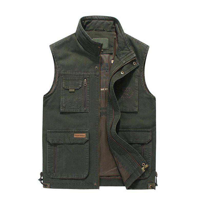 Plus Size Casual Outdoor Cotton Multi Functions Loose Vests for Men - ARMYGREEN 2XL