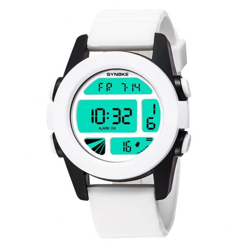 SYNOKE 67286 Silicone Night Light Swimming Waterproof Student Couple Watch - WHITE MALE