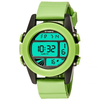 SYNOKE 67286 Silicone Night Light Swimming Waterproof Student Couple Watch - GREEN GREEN