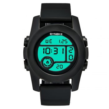 SYNOKE 67286 Silicone Night Light Swimming Waterproof Student Couple Watch - BLACKS FEMALE