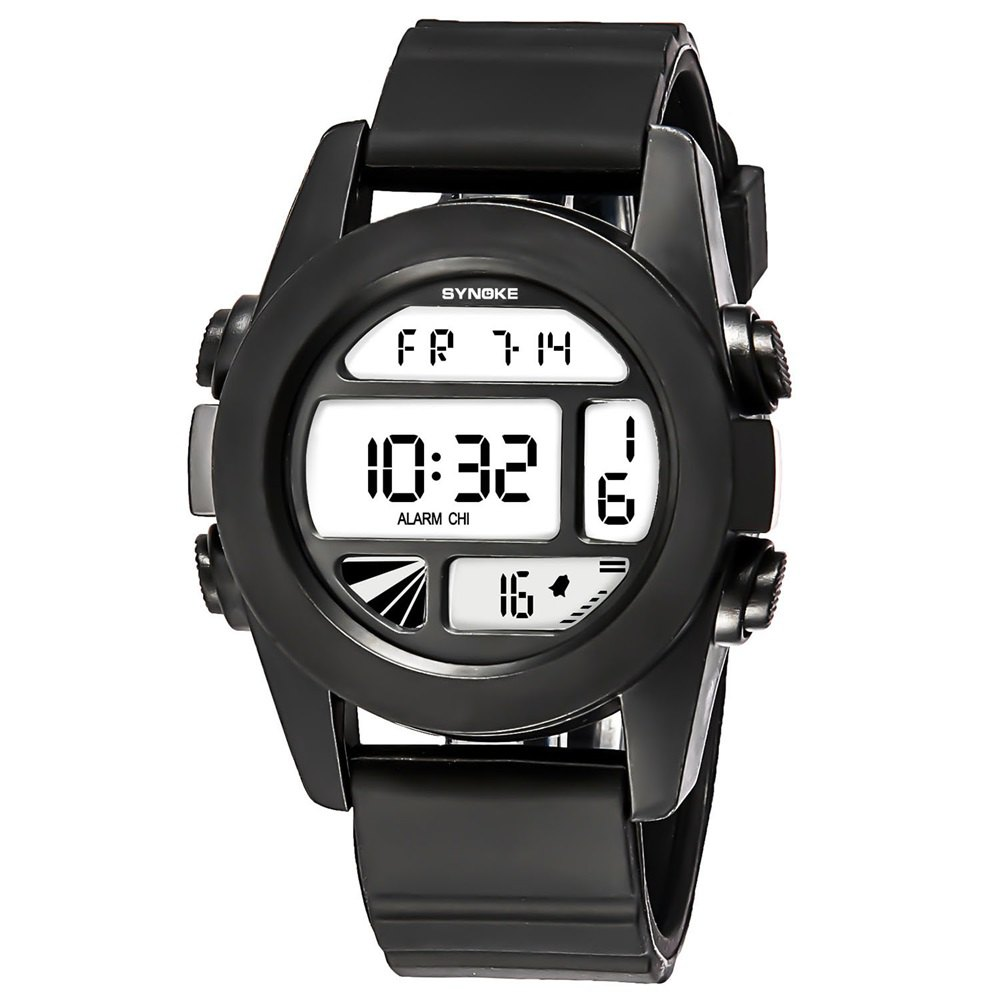 SYNOKE 67286 Silicone Night Light Swimming Waterproof Student Couple Watch - BLACK MALE