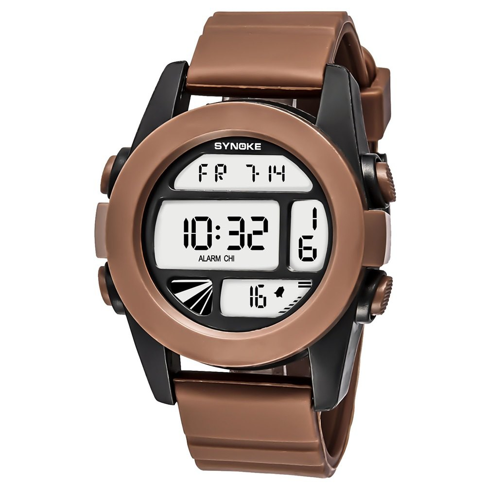 SYNOKE 67286 Silicone Night Light Swimming Waterproof Student Couple Watch - COFFEE MALE