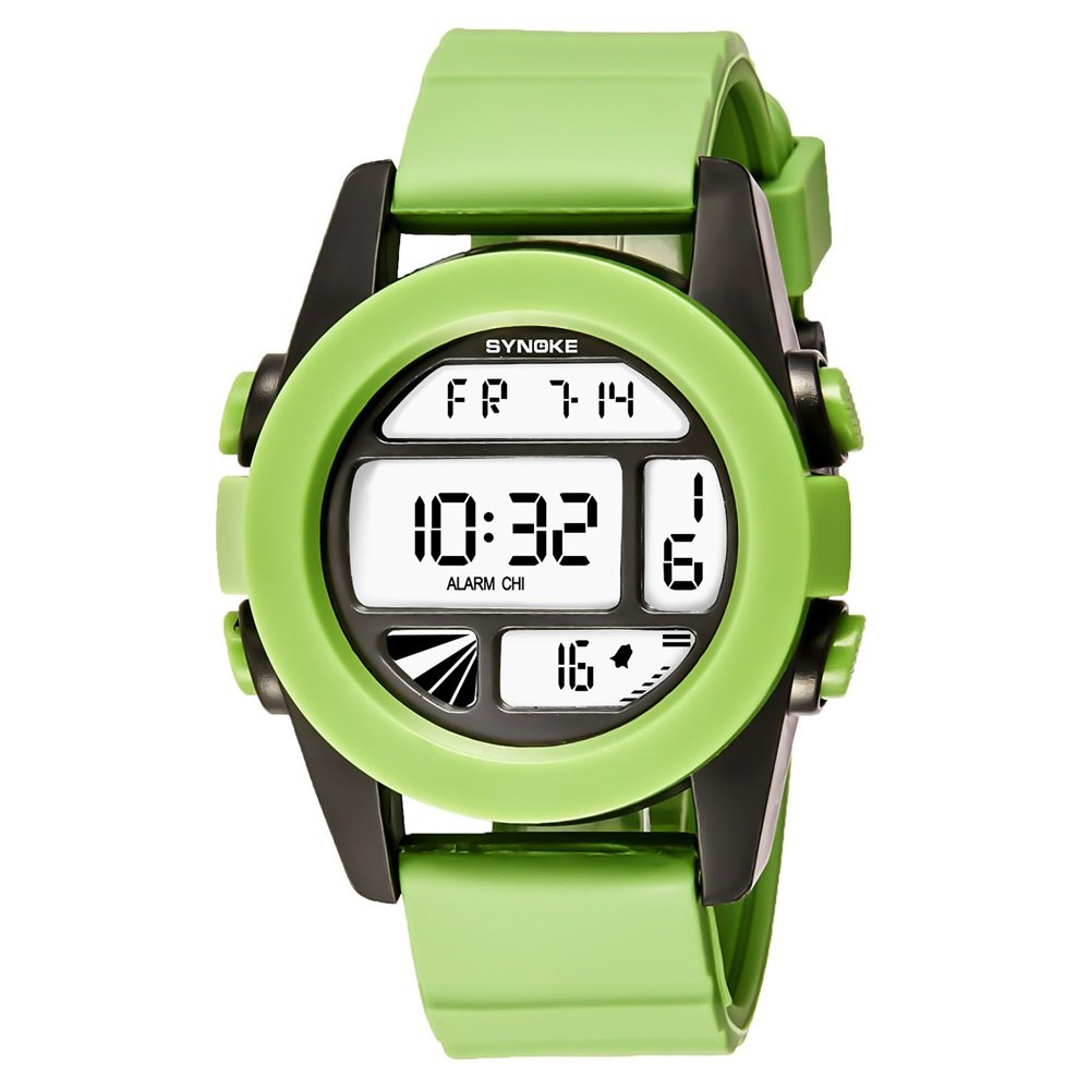 SYNOKE 67286 Silicone Night Light Swimming Waterproof Student Couple Watch - GREEN MALE