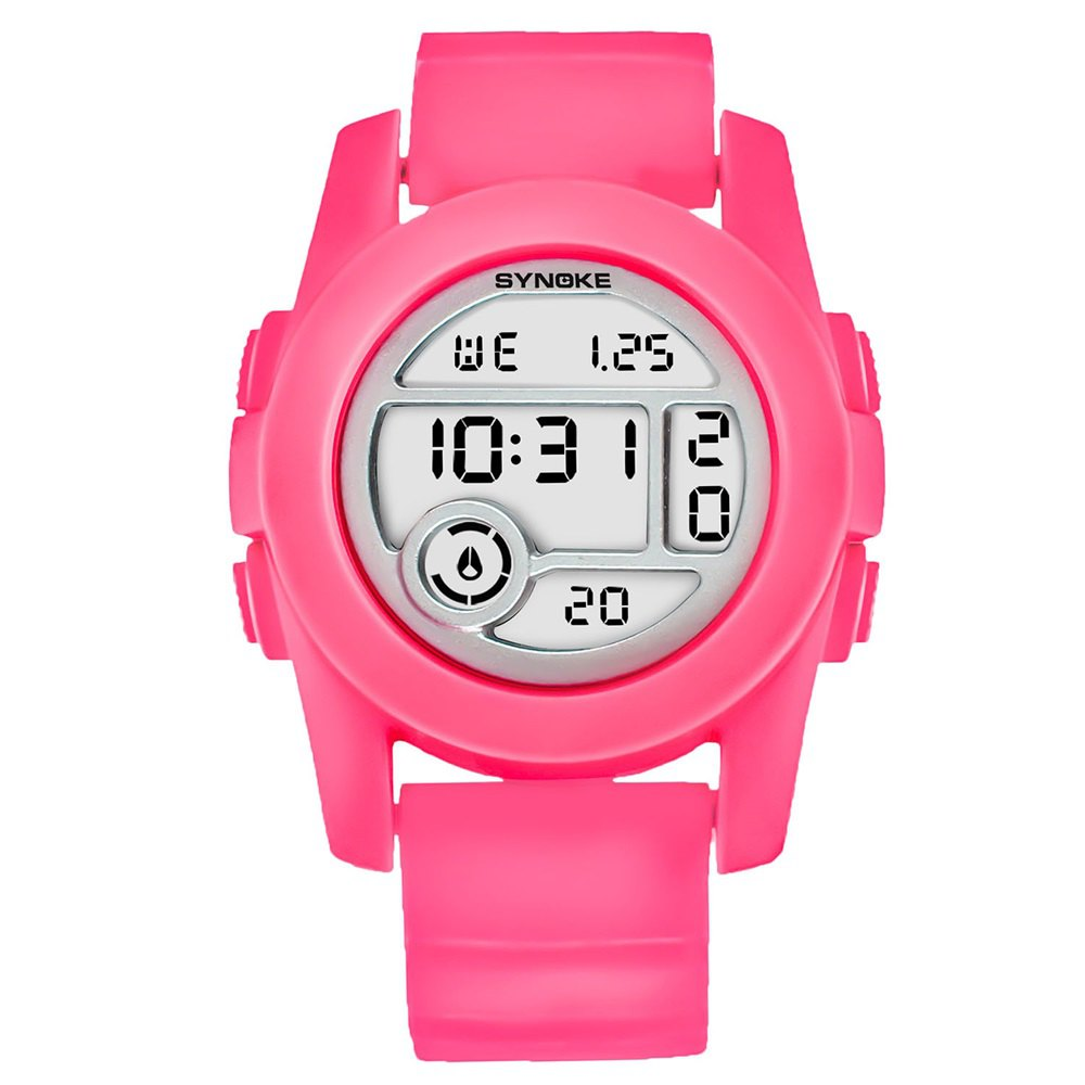 SYNOKE 67286 Silicone Night Light Swimming Waterproof Student Couple Watch - ROSE RED FEMALE