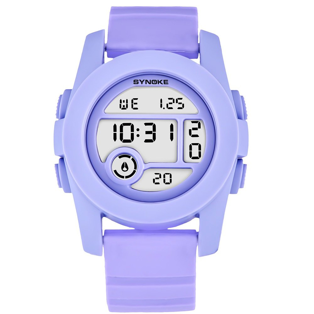 SYNOKE 67286 Silicone Night Light Swimming Waterproof Student Couple Watch - PURPLE FEMALE