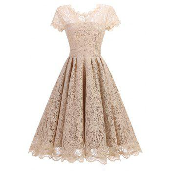 """<P>Round Neck Lace Vintage Dress</P><I Class=""""Icon Down Js Tap Up Down""""></I> by Dress Lily"""