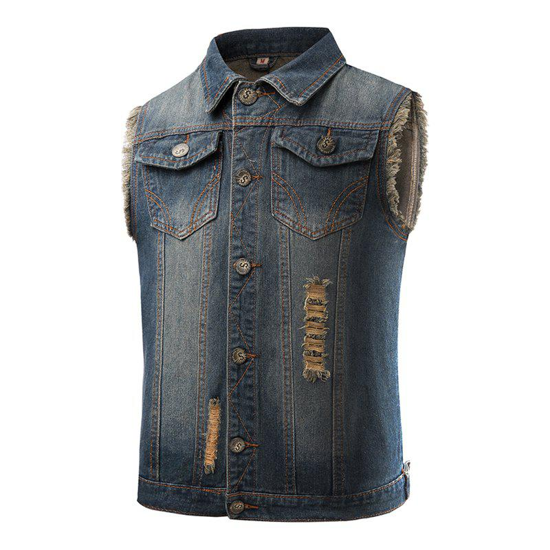 Trendy Cat Beard Man Cowboy Vest Male Coat - DENIM BLUE L