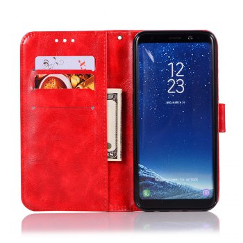 Extravagant Retro Fashion Flip Leather Case PU Wallet Cover Cases For Samsung Galaxy S8 Phone Bag with Stand - RED