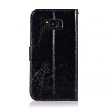 Extravagant Retro Fashion Flip Leather Case PU Wallet Cover Cases For Samsung Galaxy S8 Phone Bag with Stand - BLACK