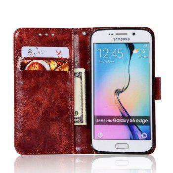 Extravagant Retro Fashion Flip Leather Case PU Wallet Cover Cases For Samsung Galaxy S6 Edge Phone Bag with Stand - WINE RED