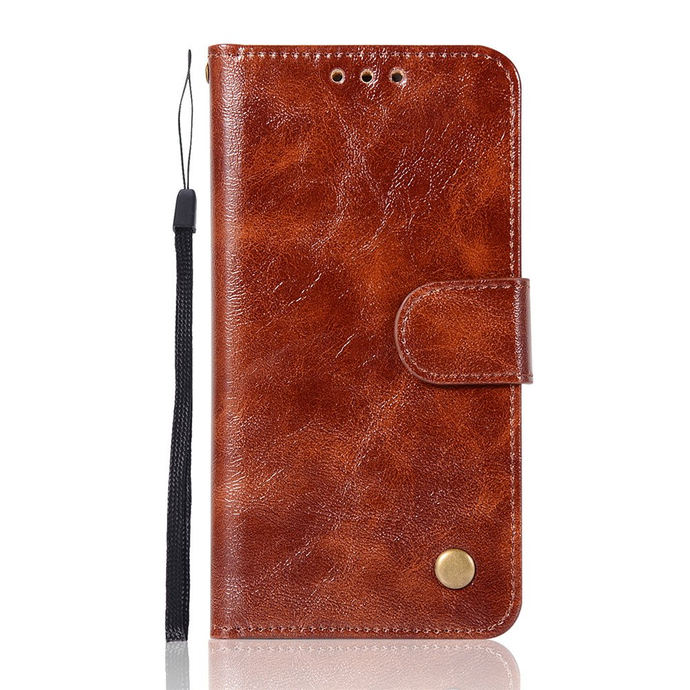 Extravagant Retro Fashion Flip Leather Case PU Wallet Cover Cases For Samsung Galaxy S6 Edge Phone Bag with Stand - BROWN