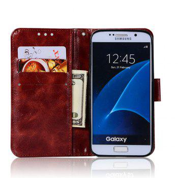 Extravagant Retro Fashion Flip Leather Case PU Wallet Cover Cases For Samsung Galaxy S6 Phone Bag with Stand - WINE RED