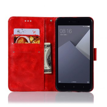 Extravagant Retro Fashion Flip Leather Case PU Wallet Cover Cases For Xiaomi Redmi Note 5A Phone Bag with Stand - RED