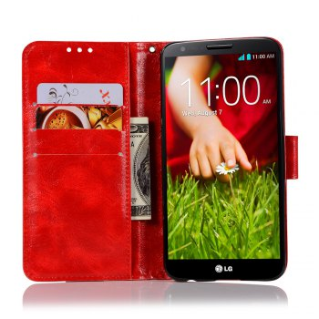 Extravagant Retro Fashion Flip Leather Case PU Wallet Cover Cases For LG X Power 5.3 inch Phone Bag with Stand - RED