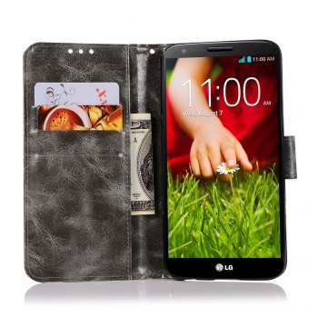 Extravagant Retro Fashion Flip Leather Case PU Wallet Cover Cases For LG X Style K200DS 5.0 inch Phone Bag with Stand - GRAY