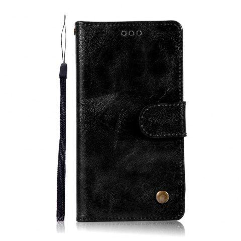 Extravagant Vintage Fashion Flip Leather Case PU Wallet Cover Cases For LG Q6A / Q6 Plus Phone Bag with Stand - BLACK